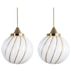 Pair of Attributed Josef Hoffmann Pendant Lamp Opal Glass Gold, Austria