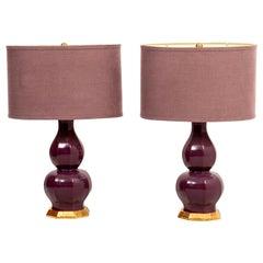 Pair of Aubergine Christopher Spitzmiller Lamps