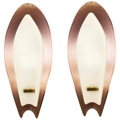 Pair of Aubergine Glass Sconces by Max Ingrand for Fontana Arte