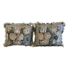 Pair of Aubusson Tapestry and Velvet Cushions