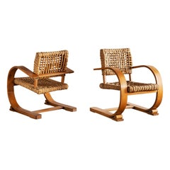 Pair of Audoux Minet Rope Chairs, France, 1940s