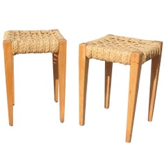 Pair of Audoux Minet Stools, France, 1960s