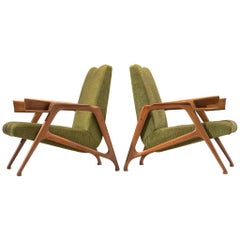 Pair of Augusto Romano Armchairs in Moss Green Upholstery