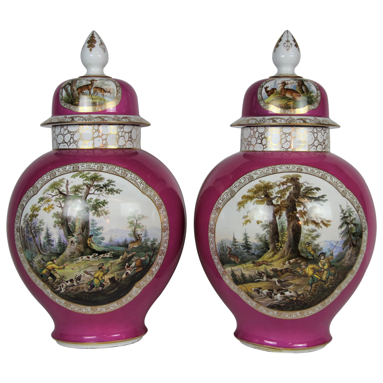 Pair of Augustus Rex Meissen Porcelain Pink Ground Hunting Scene Covered Vases