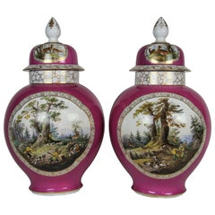 Pair of Augustus Rex Meissen Porcelain Pink Ground Hunting Scene Covered Vases