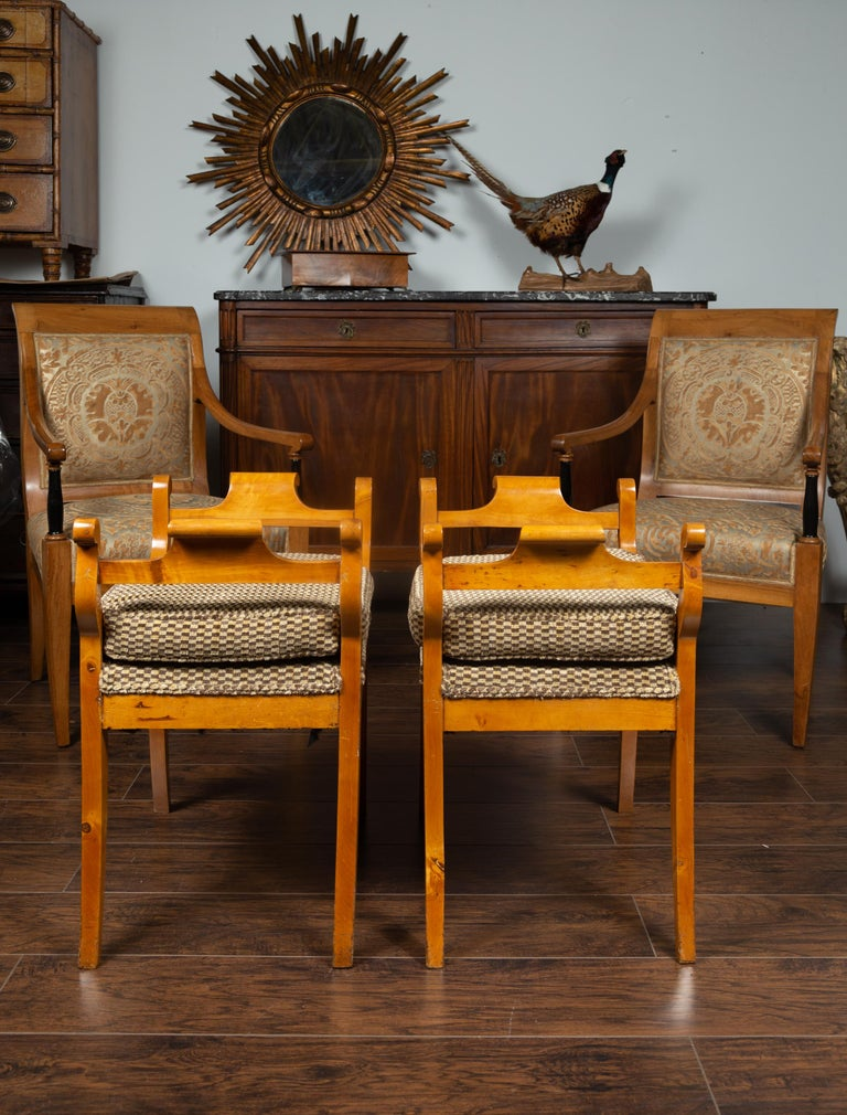 Pair of Austrian 1880s Biedermeier Style Upholstered Benches with Scrolled Arms For Sale 4