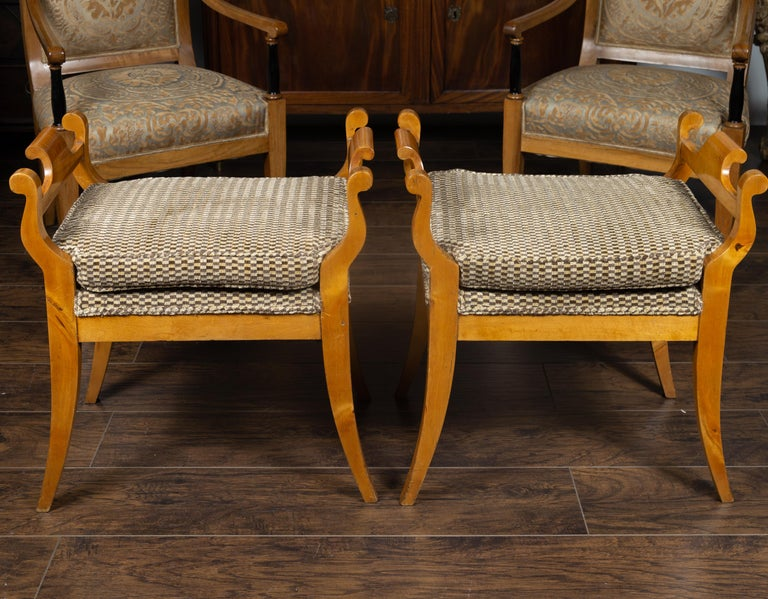 Pair of Austrian 1880s Biedermeier Style Upholstered Benches with Scrolled Arms For Sale 6
