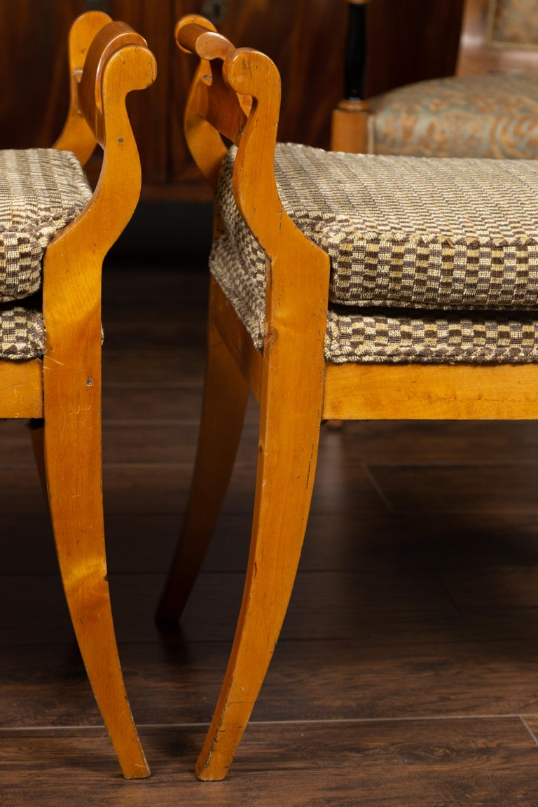 Pair of Austrian 1880s Biedermeier Style Upholstered Benches with Scrolled Arms For Sale 7