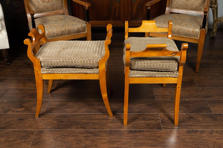 Pair of Austrian 1880s Biedermeier Style Upholstered Benches with Scrolled Arms For Sale 11