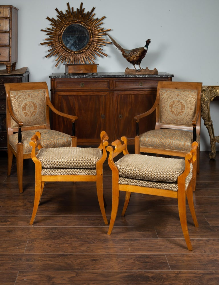 Wood Pair of Austrian 1880s Biedermeier Style Upholstered Benches with Scrolled Arms For Sale