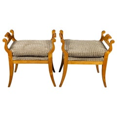Pair of Austrian 1880s Biedermeier Style Upholstered Benches with Scrolled Arms