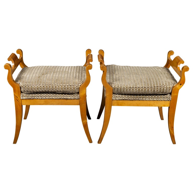 Pair of Austrian 1880s Biedermeier Style Upholstered Benches with Scrolled Arms For Sale