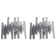 "Pair of Austrian 1960's Clear ""Ice Block"" Glass Wall Sconces by J.T Kalmar"