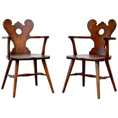 Pair of Austrian Armchairs with Decorative Backrest