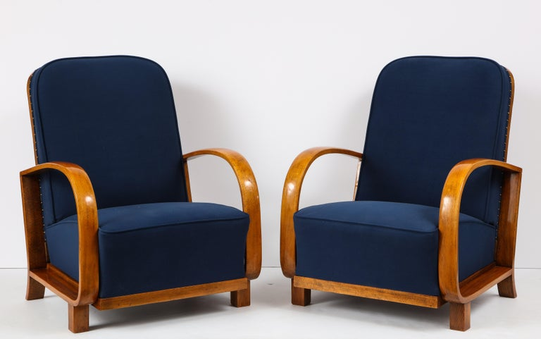 Pair of Austrian Art Deco Armchairs In Excellent Condition In New York, NY