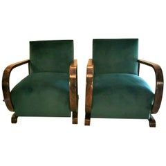 20th Century Pair  Austrian Art Deco Walnut Armchairs