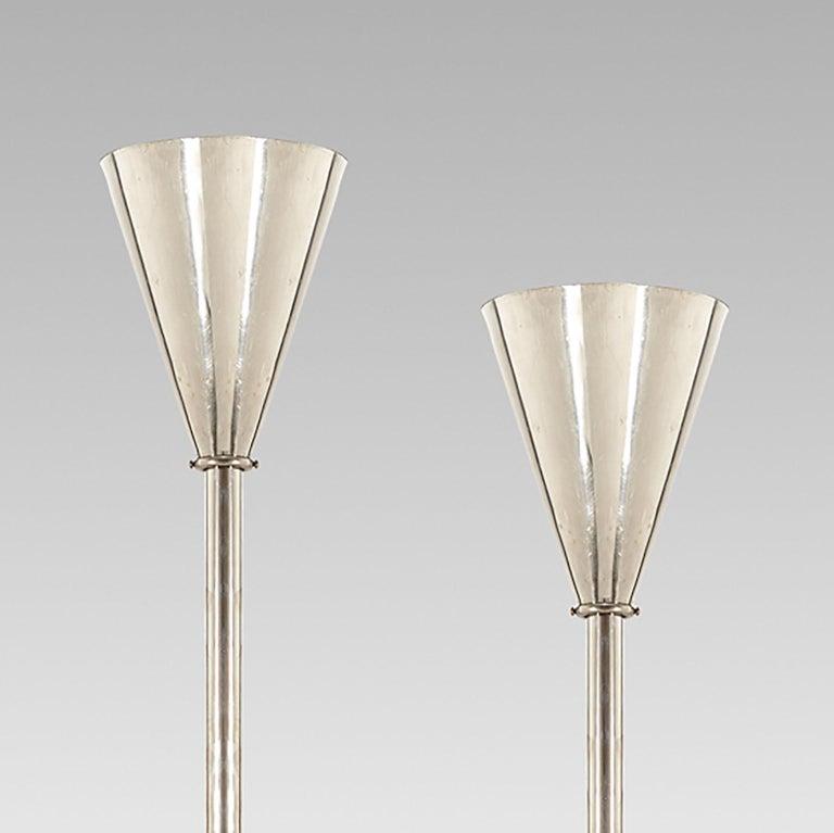 Pair of Austrian Art Deco Nickel Pendant Lamps by School of Dagobert Peche In Good Condition For Sale In Vienna, AT
