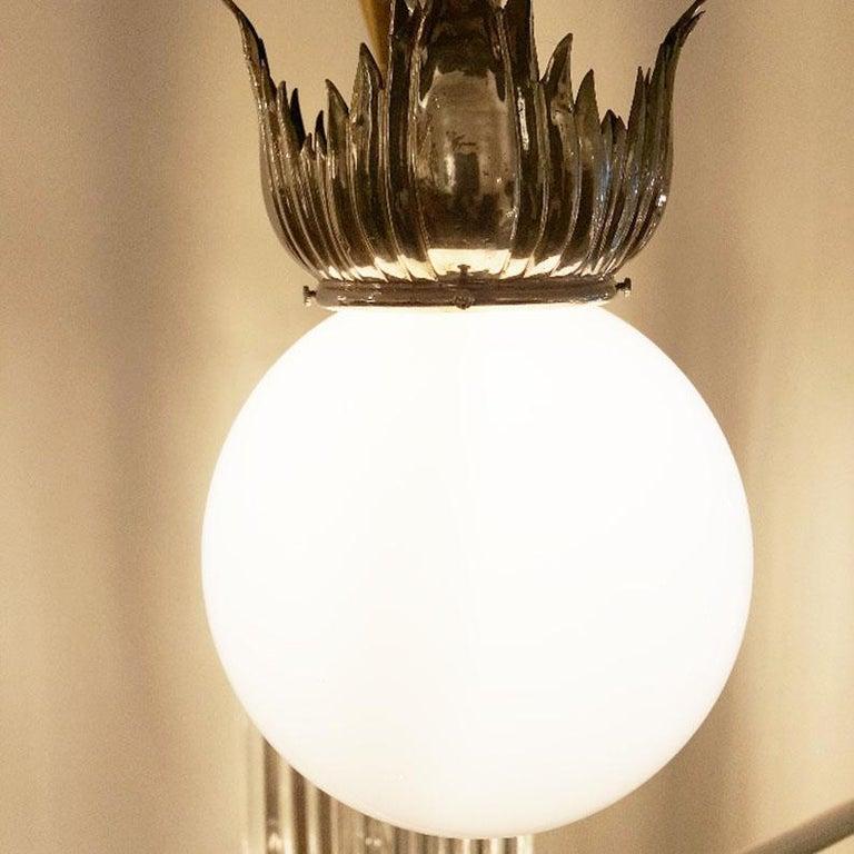 Early 20th Century Pair of Austrian Art Deco Nickel Pendant Lamps by School of Dagobert Peche For Sale