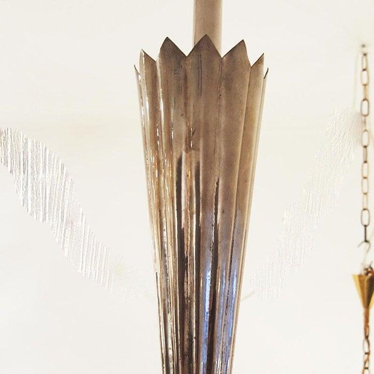 Pair of Austrian Art Deco Nickel Pendant Lamps by School of Dagobert Peche For Sale 1