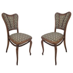 Pair of Austrian Art Nouveau Upholstered Bentwood Side Chairs