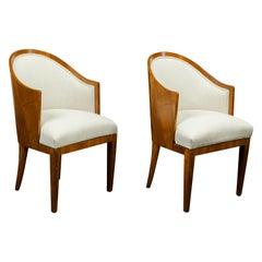 Pair of Austrian Biedermeier 1840s Walnut Wraparound Back Upholstered Chairs