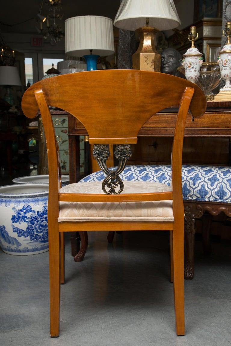 Woodwork Pair of Austrian Biedermeier Cherrywood Armchairs For Sale