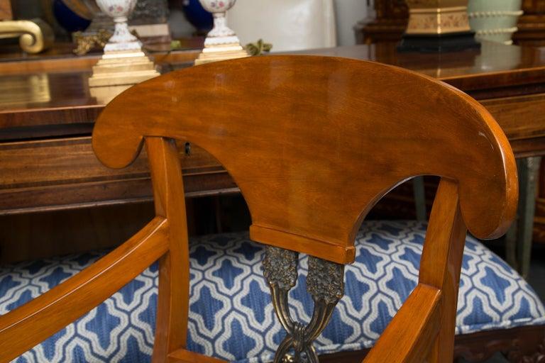 Pair of Austrian Biedermeier Cherrywood Armchairs In Good Condition For Sale In WEST PALM BEACH, FL