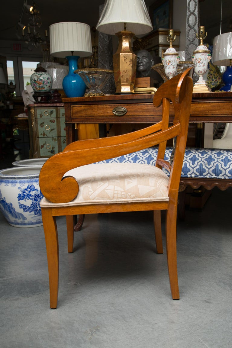 20th Century Pair of Austrian Biedermeier Cherrywood Armchairs For Sale