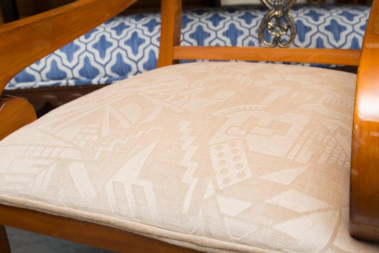 Pair of Austrian Biedermeier Cherrywood Armchairs For Sale 1