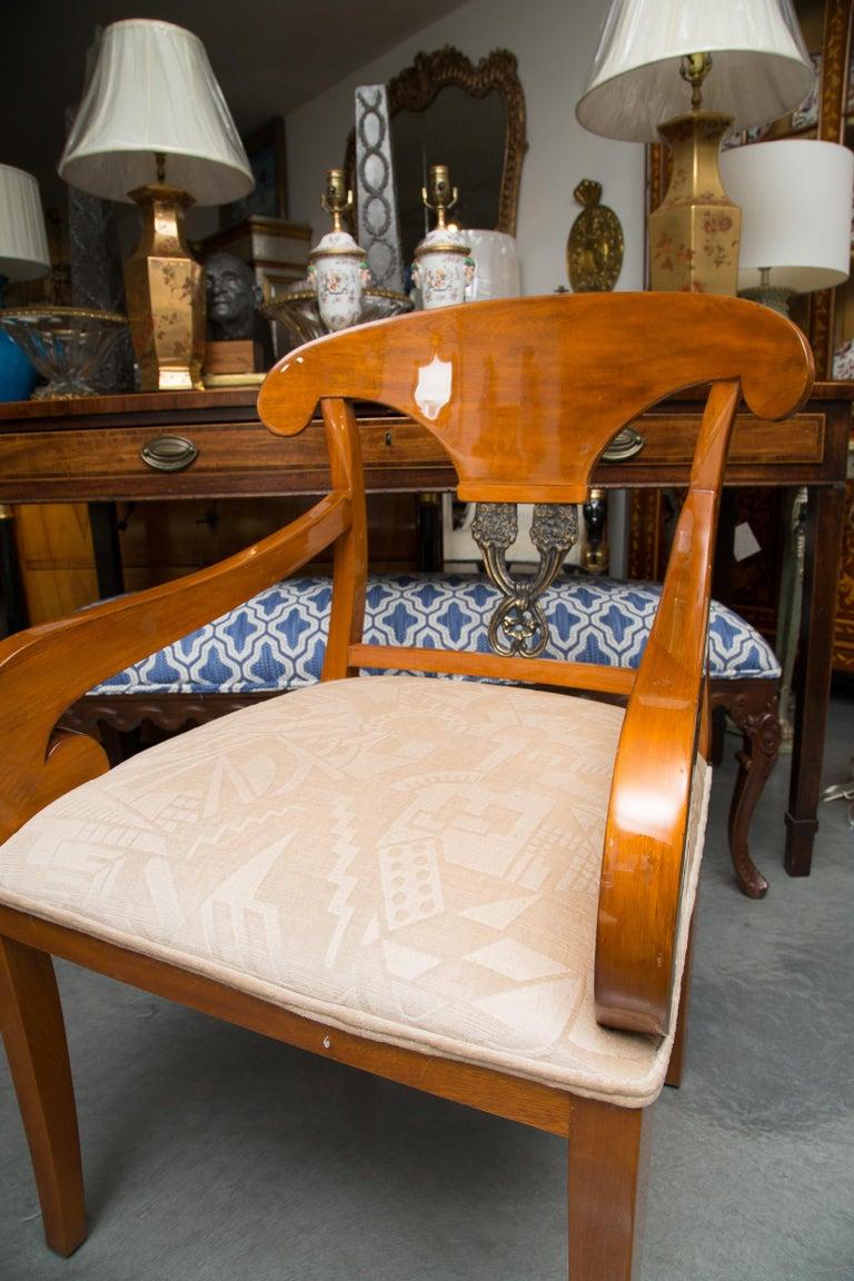 Pair of Austrian Biedermeier Cherrywood Armchairs For Sale 2