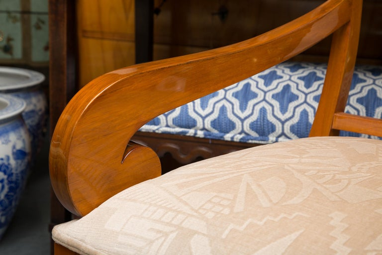 Pair of Austrian Biedermeier Cherrywood Armchairs For Sale 4
