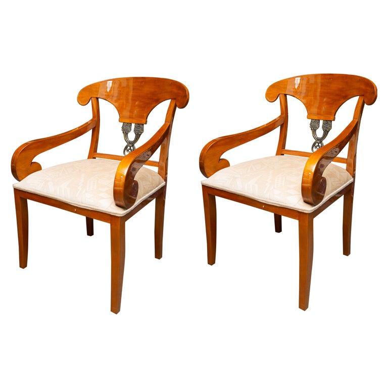 Pair of Austrian Biedermeier Cherrywood Armchairs For Sale