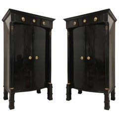 Pair of Austrian Biedermeier Ebonized Two-Door Cabinets