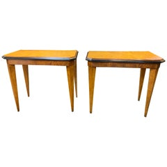 Pair of Austrian Biedermeier Mahogany and Ebonized  Side Tables