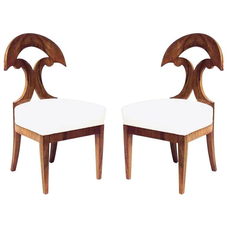 Pair of Austrian Biedermeier Side Chairs For Sale
