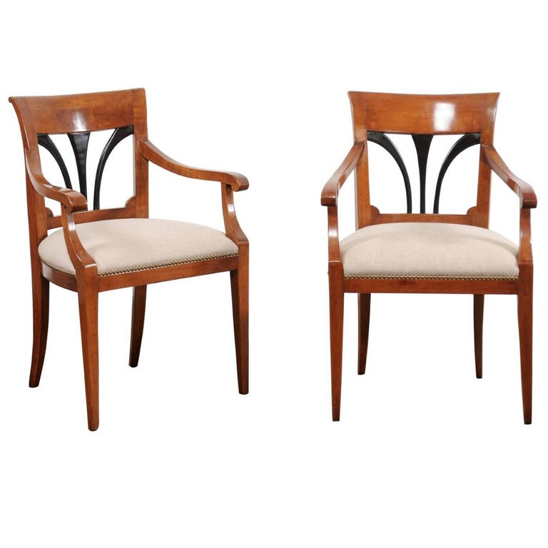 Pair Of Austrian Biedermeier Walnut Armchairs With Ebonized Wood Accents 1880s For