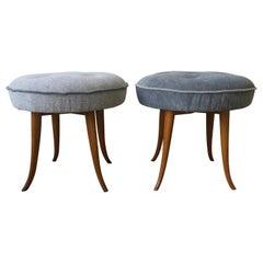 Austrian Blue Upholstered Wood Stools after Josef Frank