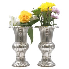 Pair of Austrian Continental Silver Vases
