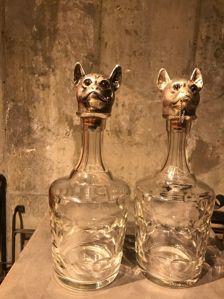 Other Pair of Austrian Figural Dog Decanters For Sale