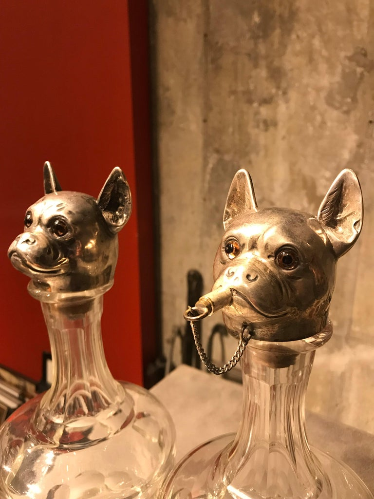 Early 20th Century Pair of Austrian Figural Dog Decanters For Sale