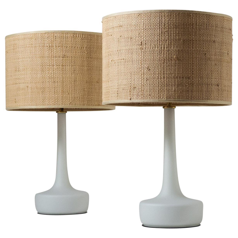 Pair of Austrian Glass Table Lamps, 1960s, Raffia Shades