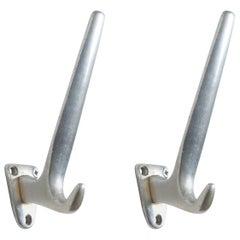 Pair of Austrian Midcentury Aluminum Wall Hooks