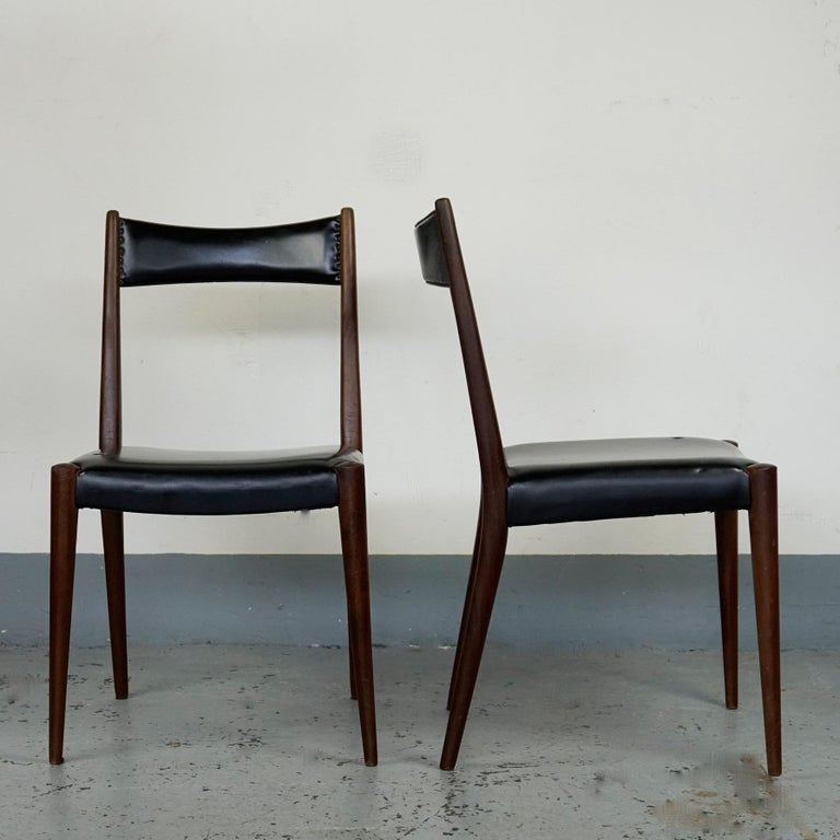 Rare pair of chairs designed by Anna Lülja Praun, together with Margarete Schütte Lihotzky the most important female Austrian Post War Architects. Influenced by Personalitys as Eileen Gray, Josef Frank and Clemens Holzmeister she created pure and