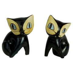 Pair of Austrian Midcentury Black Glazed Ceramic Cats by Leopold Anzengruber