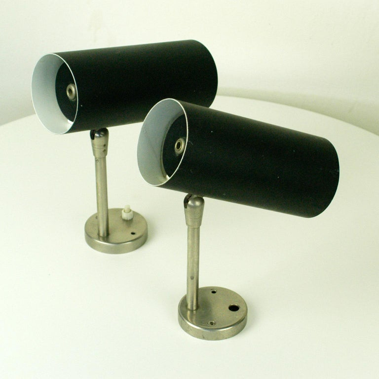 Mid-Century Modern Pair of Austrian Midcentury Black Lacquered Zylinder Sconces by J. T. Kalmar For Sale