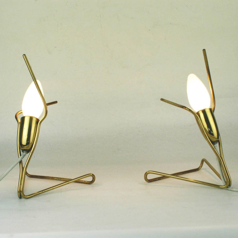 Pair of Austrian Midcentury Brass Wall or Table Lamps by Rupert Nikoll For Sale 1