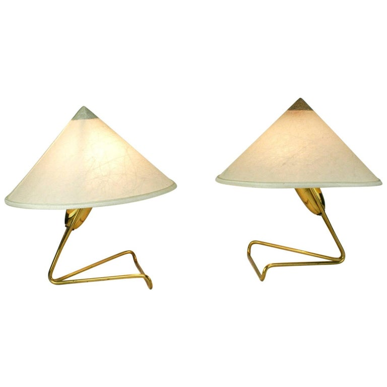 Pair of Austrian Midcentury Brass Wall or Table Lamps by Rupert Nikoll For Sale