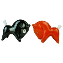 Pair of Austrian Midcentury Ceramic Toothpick Horses by Leopold Anzengruber