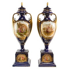 Pair of Austrian Painted Gilded Porcelain Vases, Wien 19th Century German Signed