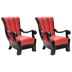 Pair of Austrian Red Leather Art Deco Armchairs Attributed to Otto Prutscher